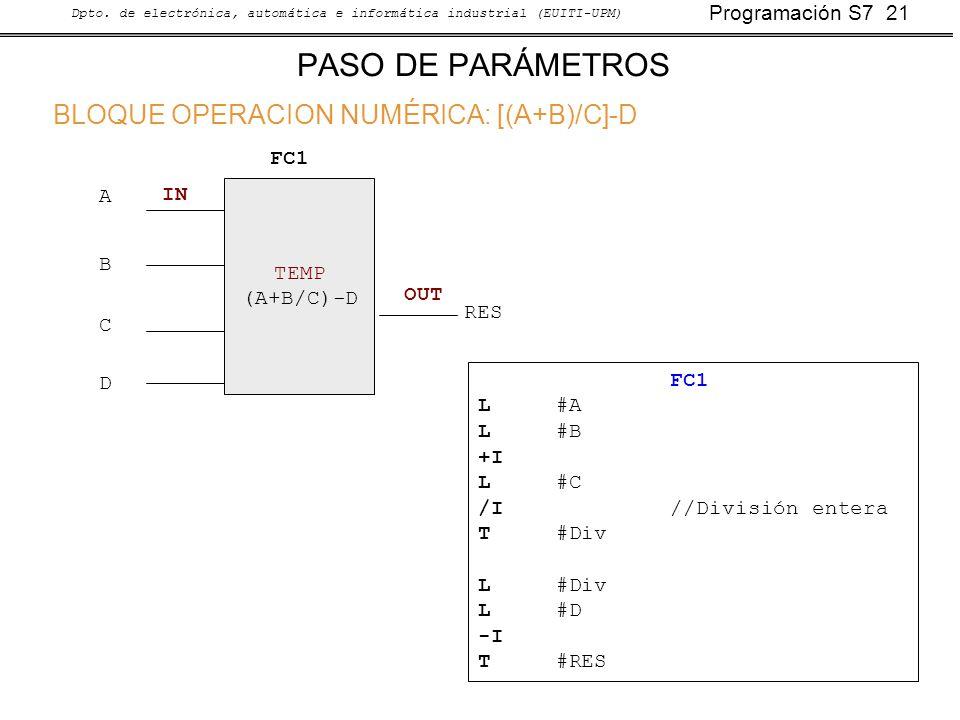 PASO DE PARÁMETROS BLOQUE OPERACION NUMÉRICA: [(A+B)/C]-D FC1 A IN